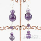 Fashion Natural Amethyst Bead Dangle Earrings With Fish Hook