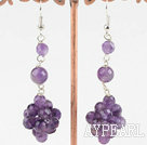 Fashion Natural Cluster Amethyst Ball Dangle Earrings With Fish Hook