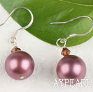 Lovely Round Rose Pink Seashell And Wine Red Crystal Drop Earrings With Fish Hook