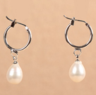 Fashion Hot Sale Natural White Freshwater Pearl Earrings with Big Loop Hooks