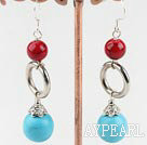 Lovely Blue Turquoise And Bloodstone Loop Donut Shape Charm Earrings With Fish Hook