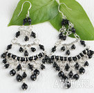 Popular Manmade Rhombus Black Crystal Link Charm Earrings With Fish Hook