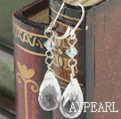 Lovely White Drop Shape Crystal Earrings With Lever Back Hook