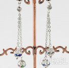 dangling style coloful rhinestone long earrings