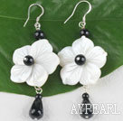 flower style agate earrings