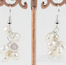 Wholesale cluster style white pearl earrings