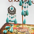 Fashion Long Style Round And Teardrop Blue Turquoise Loop Charm Dangle Earrings With Fish Hook