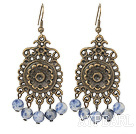 Fashion Vintage Style 6Mm Round Sodalite Stone Earrings With Bronze Engraved Flower Charm