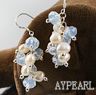 white fresh water pearl and crystal earrings