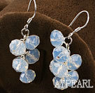 Lovely Manmade Cluster Opal Crystal Dangle Earrings With Fish Hook