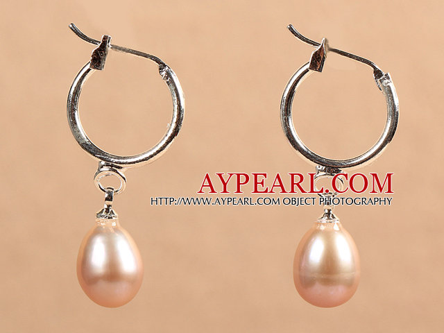 Fashion Hot Sale Natural Purple Freshwater Pearl Earrings with Big Loop Hooks