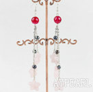 dangling style rose quartze and pear earrings