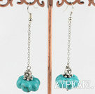 Long Chain Loop Style Pumpkin Shape Blue Turquoise Metal Charm Dangle Earrigns