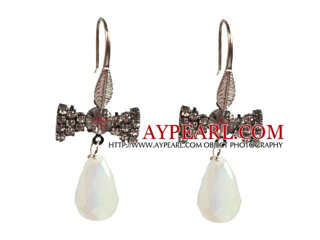 Beautiful Fashion Drop Shape Opal Dangle Earrings With Rhinestone Bow