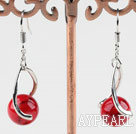 Lovely 10Mm Bloodstone Ball And Twisted Loop Charm Dangle Earrings With Fish Hook