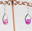 Lovely Round Pink Agate And Twisted Loop Charm Dangle Earrings With Fish Hook