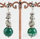 Wholesale faceted green agate ball earrings