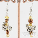 Wholesale gold pearl and crystal earrings