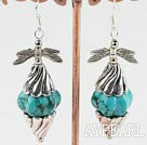 Fashion Pumpkin Shape Blue Turquoise And Cap Butterfly Silver Charm Dangle Earrings