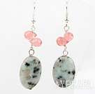 Wholesale Lovely Cherry Quartz And Oval Shape Lazulite Dangle Earrings With Fish Hook