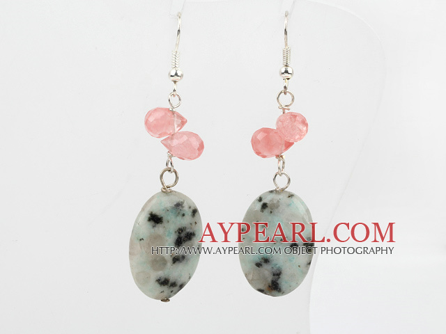 Lovely Cherry Quartz And Oval Shape Lazulite Dangle Earrings With Fish Hook