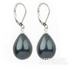 Fashion Black Sea Shell Pear Shape Drop Earrings With Lever Back Hook