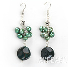 Wholesale green pearl and indian agate earrings