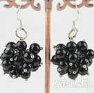 Wholesale cluster style black agate earrings