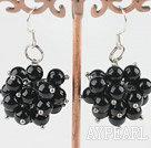Wholesale cluster style black agate earrings