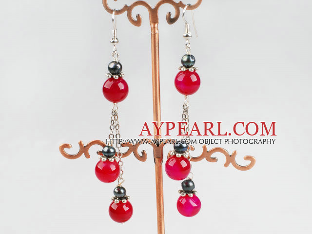 black pearl and pink agate ball earrings