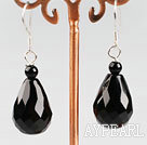 Fashion 12*18Mm Drop Shape Faceted Black Agate Drop Earrings With Fish Hook