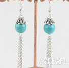 cute 12mm turquoise ball earrings with dangling chains