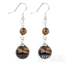 Fashion Round Tiger Eye Stone Loop Charm Dangle Earrings With Fish Hook