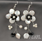 Wholesale White Coin Pearl and White Freshwater Pearl and Black Crystal Flower Earrings