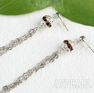 Wholesale dangling style manmade diamond ball earrings