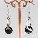 Fashion 10Mm Round Black Agate Ball And Twisted Loop Charm Drop Earrings With Fish Hook