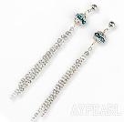 dangling style manmade diamond ball earrings