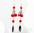 Red Coral Fish Hook Dangle Earrings