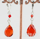Lovely Red Drop Shape Crystal Earrings With Lever Back Hook
