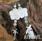 White Shell Flower and Stone Earrings