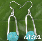 Fashion Round Blue Turquoise Loop Charm Dangle Earrings With Fish Hook