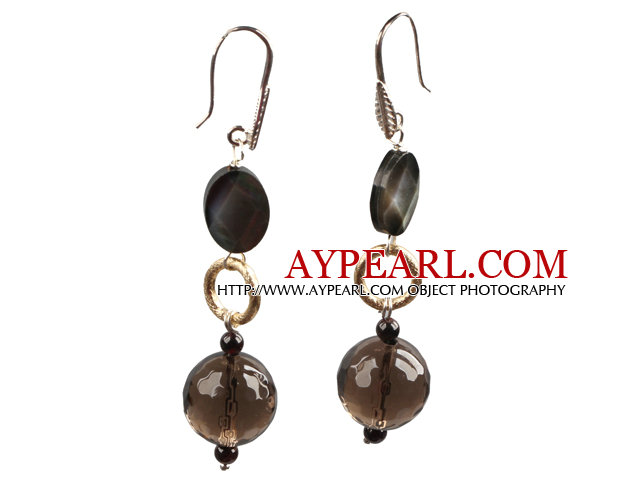 Simple Long Style Facete Smoky Quartz Black Lip Shell And Garnet Bead Dangle Earrings With Golden Loop