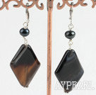 Elegant Black Freshwater Pearl And Black Rhombus Agate Dangle Earrings With Lever Back Hook