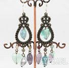 Vintage Style Rainbow Fluorite Dangle Earrings