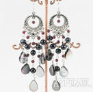 Wholesale chandelier shape black pearl black lip shell earring
