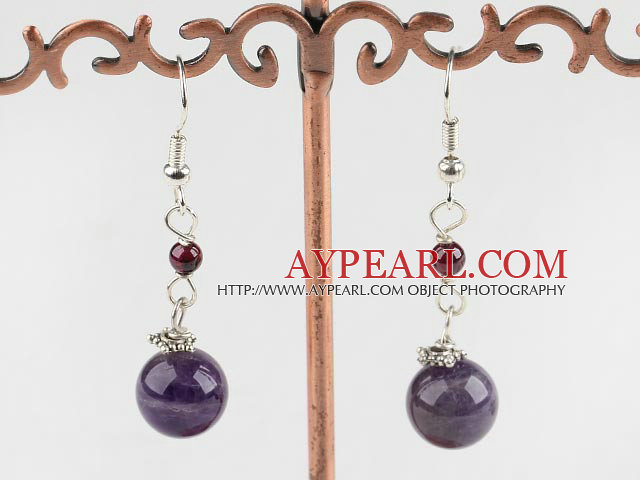 Nice Round Garnet And Amethyst Ball Dangle Earrings With Fish Hook