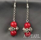 Dangle Earrings style corail rouge avec chaîne en métal