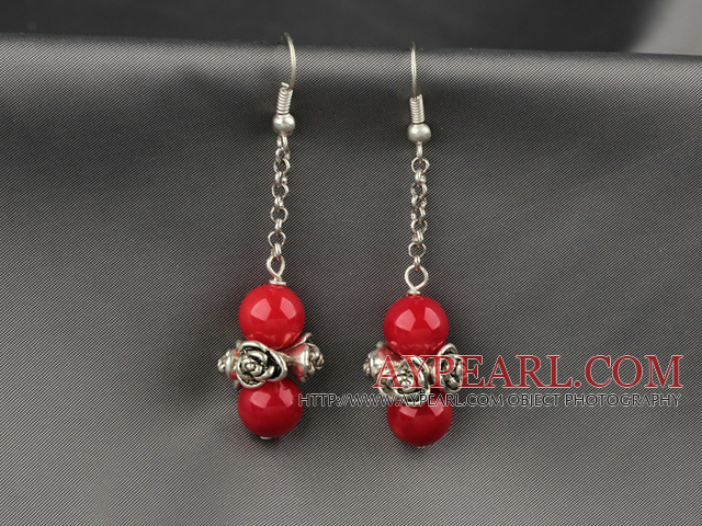 Dangle Style Red Coral Earrings with Metal Chain