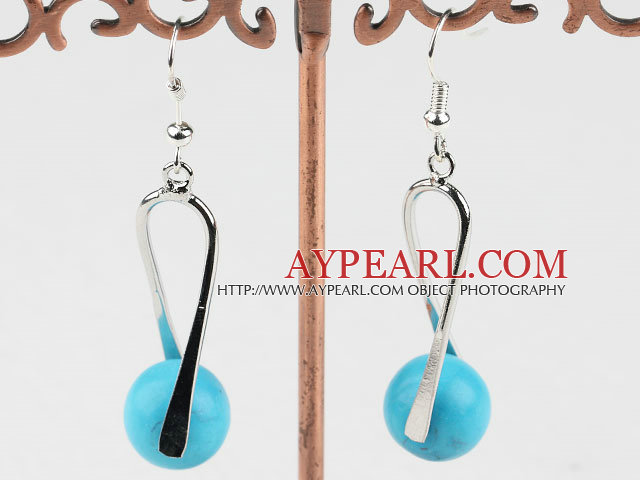 Lovely Simple Style Blue Turquoise And Twisted Loop Metal Charm Earrings With Fish Hook