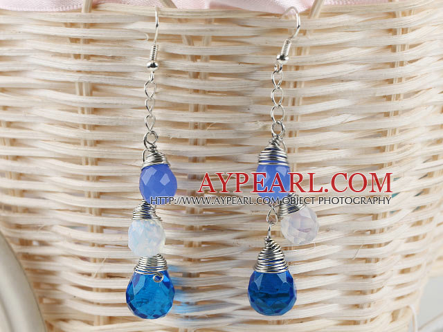 lovely dangling drop shape crystal earrings